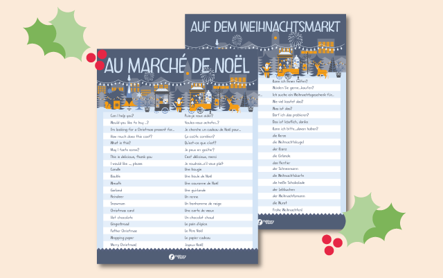 Two posters with French and German Christmas market vocabulary