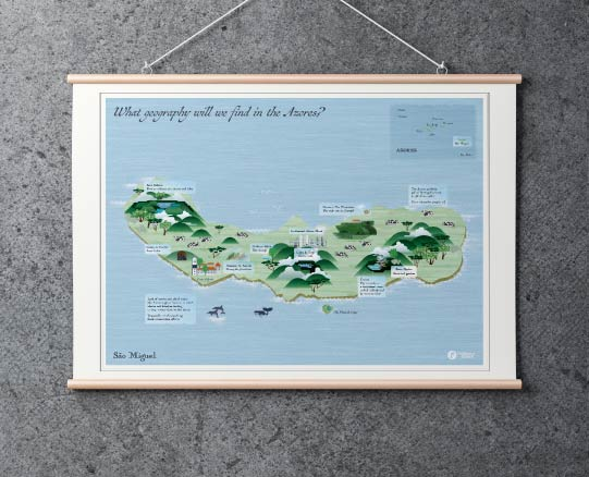 Map of Sao Miguel Island, Azores.